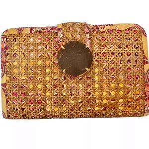 Vera Bradley Clutch Bag Wicker Cotton Boho Chic